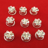 Wholesale mm Butterfly Clear Crystal Hair Twists Spirals Pins Wedding Women Hair Jewelry Fee Shipping