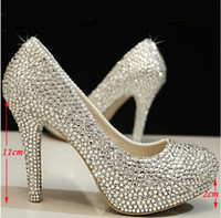 Wholesale wedding shoes crystal shoes women high heels rhinestone high heel shoes platform pumps Inches Party prom heels
