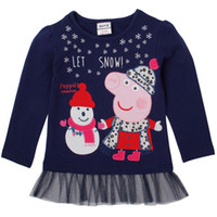 Wholesale F4732 Nova cartton t shirt hot Peppa pig t shirt dresses baby girl navy long sleeve lace tops for spring autumn