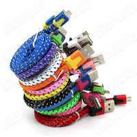 Wholesale 1m m m ft ft ft Fabric Braided Noodle Flat Data Sync USB Charging Cable Cord Nylon Extension Lead