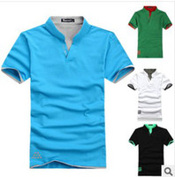 Men Cotton V_Neck Free shipping! HOT Detonation Model Men's New Collar Short Sleeve Cotton POLO .WDW05
