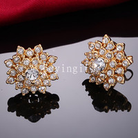 Wholesale New trendy fashion jewelry Flower Earrings K gold plated Inlaid Swarovski Crystal Elements classic Ear clip holiday gift