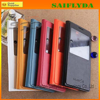 Wholesale Flip Leather Battery Housing Back Case Cover for Samsung Galaxy S5 S4 note note i9600 with Open Window
