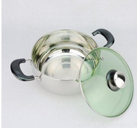 Wholesale Non magnetic stainless steel soup pot and classic modeling pearl pot double handle milk pot cm