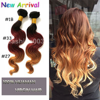 Brazilian Hair Body Wave brazilian Human remy hair Hot Queen 3 Tone Ombre Color #1B\33\27 100% Brazilian Virgin Hair Weft Remy Hair Body Wave Hair Extension Weave Grade AAAAA