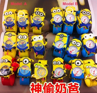 Wholesale Despicable Me D Minions Children Snap WATCH Baby Boy Girl Watches Cartoon Silicoen Wrist Gifts Model shape wwmy1688