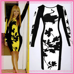 Wholesale 2014 New Autunm Women Fashion Celeb Long Sleeve Contrast Floral Print Color Block Stretch Bodycon Pencil Dresses