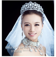 Cheap Free Shipping! Shining Wedding Bridal Accessories Crystal Veil Tiara Crown Headband