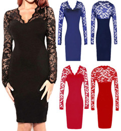 Wholesale Details about Fashion Celeb Bodycon Navy Black Lace Long Sleeve Midi Evening Party Dresses ZL