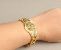 Wholesale 20cm hip hop rapper cool medusa bracelet bangle k Gold filled plated for women and men new vintage jewelry xh4