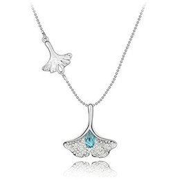 Wholesale Austria Crystal Gingko Diamante Pendant Sweater Chain Fashion Necklace