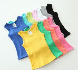 Wholesale 2014 summer hot sale kids children s child plain solid color tank tops vest boy s girl s singlets tee sleeveless t shirts