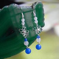earrings blue jade earrings - 925 pure silver ear hook natural blue agate jade crystal handmade earrings earring