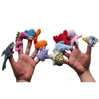 Wholesale 10pcs set Mini Short Plush Stuffed Sea Animal Finger Puppets Children Educational Soft Toys