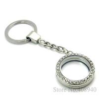 Wholesale 30mm Silver Round magnetic glass glass locket keychains floating charm locket Zinc Alloy RhinestoneLSFK01