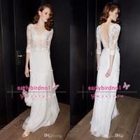 lace backless evening dresses 2014 V Neck 1 2 Sleeves Sheer ...