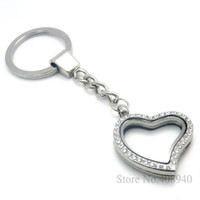 Wholesale 30mm Silver Heart magnetic glass glass locket keychains floating charm locket Zinc Alloy RhinestoneLSFK03