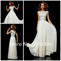 Reference Images Scoop Chiffon 2014 Modest Scoop Neck Chiffon Beading Prom Dresses With Cap Sleeves Evening Gowns