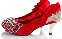 Wholesale Slipper in red high heels wedding shoes large size shoes with wedding shoes bridal shoes bridesmaid shoes