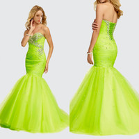 Wholesale Vestido De Fiesta Corset Back With Silver Beadings Mermaid Evening Formal Gown Tulle Skirt Lime Green Long Pageant Prom Dresses ED9313