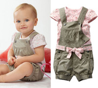 Wholesale Details about Baby Girl Kids Toddler Cotton Summer T Shirt Top Floral Dress Clothes Belt Pants