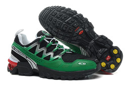 Wholesale Hot selling Salomon GCS Shoes Super Comfy Mens Athletic Shoes Very Functional Ground Contral System Green grey colorway Size