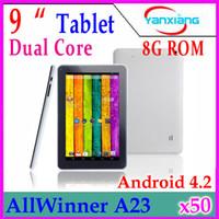 Precio de Tablet 9 inch-¡DHL 50pcs 2014 el precio más nuevo! 9 pulgadas Allwinner A23 doble núcleo Cortex A8 androide 4.2 tableta RW-L09-19