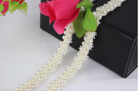 beaded yard decoration - 1 Yard Row Lace Pearl Beaded Trim Ribbon For Sewing Wedding Apparel Decoration