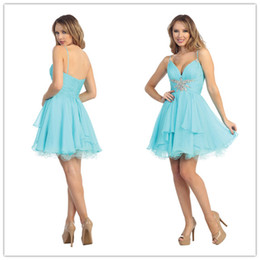 Wholesale Vestidos Sexy Aqua Chiffon Beaded Rhinestone Short Prom Dresses with Spaghetti Straps