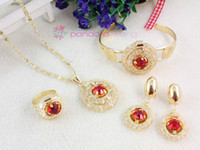Bracelet,Earrings & Necklace abalone bracelet - New Fashion Gold Plated K Necklace Crystal Wedding Bridal Jewelry Sets Color