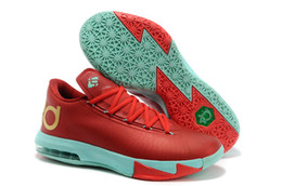 New Arrival Swingman Kevin Durant KD VI 6 Basketball Shoes Low Cut KD 6 Christmas Light Crimson Metallic Gold Green Glow