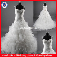 Wholesale AM652 Real picture detachable strap organza ruffles china suzhou wedding dress real sample