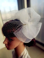 One-Layer Blusher/ Short Veils Cut Edge Hot Sale Gorgeous White Fashion Handmade Feather with Net Nice Bridal Party Wedding Fascinator Hats Veil Birdcage Hair Accessories EM00978