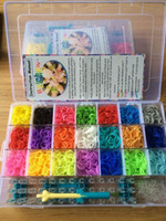 Wholesale rainbow loom kit clear plastic box for Kids DIY bracelets come with ps rubber bands clips hook moq