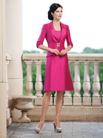 Wholesale 2014 Fuchsia Half Sleeves Knee Length Suit Mother of the Bride Dresses Vintage A Line Scoop Short Jacket Formal Dresses Prom Evening Gown
