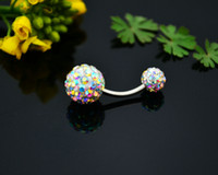 Wholesale New G belly ring double rhinestone navel body jewelry navel piercing for sale