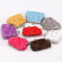 authentic wholesale purses - Hot Korean Lace Rose authentic purse coin bag buckle coin purse key holder wallet hasp small gifts bag clutch han