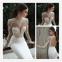 Berta Bridal 2014 Lace Bodice High Collar With Sheer Long Sl...