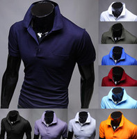 Men Polo British Noble Fashion Wholesale - NEW 2014man's Shirts mixed colors Men Slim T-shirts Stripe Turn-down Collar T-shirts Casual Fashion Short Sleeve -CZJ8289H