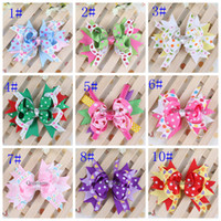 Cheap Colorful baby girl hair clips 11 colors bow baby Christmas hair accessories kids children headband baby dress flower
