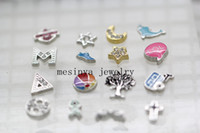 Charms Traditional Charm Chirstmas 160pcs 16 designs assorted greek letter lol lifetree star moon etc. floating charms ,glass living locket not included