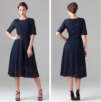 Wholesale 2014 Plus Size Lace Half Sleeve Cheap Wedding Party Dark Navy Mother of the Bride Groom Dresses With Tea Length Suit LMKL