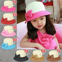 arc sun - 2014 New Summer Kids Bowknot Hat Children Braid Straw Hats Boutique Arc shaped Mushrooms Caps Girls Sun Hats Brim Beach Hat