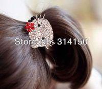 Wholesale women headwear fashion jewelry hair ornament female elastic hair band Rhinestone cute cat head band t212