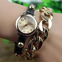 Wholesale Hot sale women vintage leather strap watches Metal chain bracelet dress watch fashion ladies wristwatch cheap watches PL001