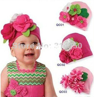 Girl Summer Crochet Hats FREE SHIPPING--- Infant big flower hats cotton knitted caps Baby Beanies lovely style earflaps comfortable caps CROCHET 1pcs lot