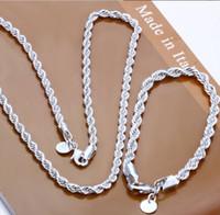 Wholesale Sterling Silver jewelry necklace bracelet jewelry set S051