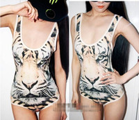 Wholesale New tops women jumpsuits sexy camisoles tiger pattern design tank top Tigers vest bodysuits swimwear Tanks Camis