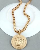 Wholesale men jewelry gold plated Medusa portrait necklace woman s and men s necklace Hip Hop Jewelry