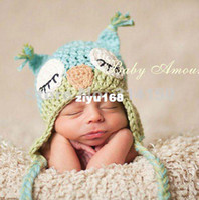 Unisex Summer Crochet Hats FREE SHIPPING---Baby owl hats crochet caps baby beanies owl modeling handmade kids knitted hats animal style 1pcs lot